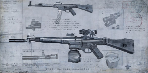 Wolfenstein internet movie firearms database guns in movies tv mp43 concept art blueprint showing the various upgrades note the gewehrgranatengert used as a suppressor malvernweather Choice Image