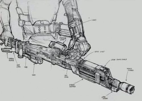 another sketch shows off the detailing of the weapon