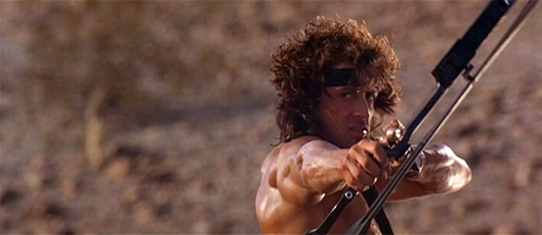 Rambo 3 Elicottero : Rambo fires his explosive tip arrows at the helicopter