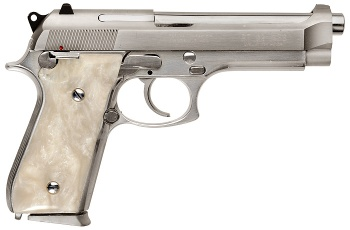 Nickel Taurus PT92 with Pearl Grips - 9x19mm