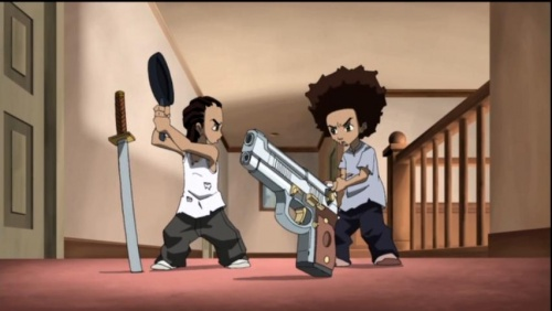 Riley knocks the Taurus out of Huey s hands The Boondocks Huey With Gun