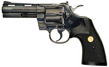 """Colt Python with 4"""" Barrel and factory Black rubber combat grips ..."""