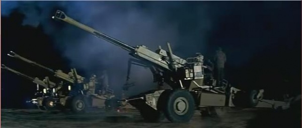 Bofors 155 mm guns are fired at pakistani forces