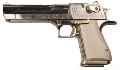 A Desert Eagle Mark XIX With Chrome Finish Gold Controls And Dark Ivory Grip This Is An Actual Movie Gun From The Inventory Of Weapons Specialists
